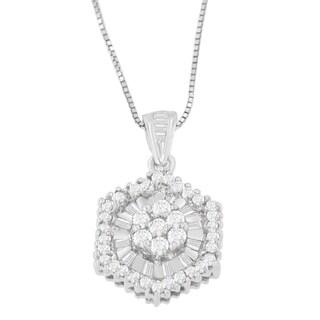 14K White Gold 5/8 ct. TDW Baguette and Round Cut Diamond Geometric Halo Pendant Necklace (H-I, I1-I2)