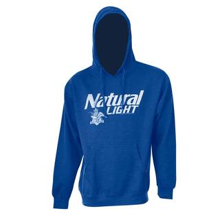 Natty Light Royal Blue Polyester and Cotton Logo Hooded Sweatshirt
