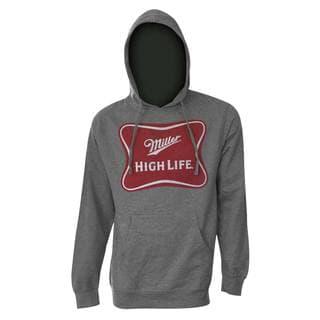 Miller High Life Logo Men's Heath Grey Polyester Hooded Sweatshirt