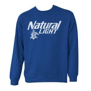 Natty Light Logo Blue Cotton-blend Crewneck Sweatshirt
