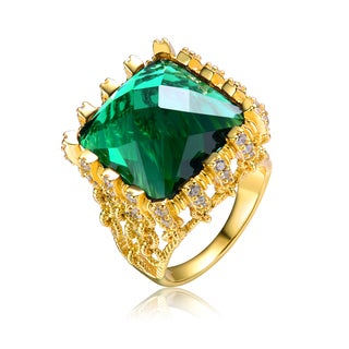 Collette Z Gold Overlay Large Green Cubic Zirconia Ring Size 6