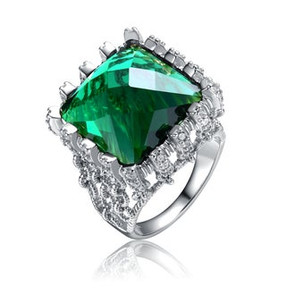 Collette Z Rhodium plated Over A Large Green Cubic Zirconia Ring Size 6
