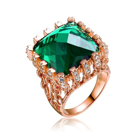 Collette Z Rose Gold Overlay Large Green Cubic Zirconia Ring