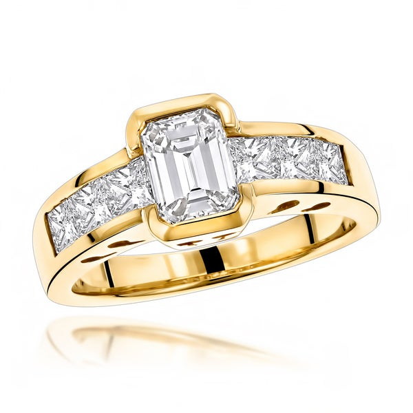 Image result for Luxurman 14k Yellow Gold 4ct TDW Princess and Emerald-cut Diamond Engagement Ring\