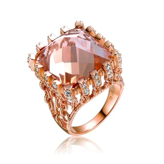 Collette Z Rose Gold Overlay Champagne Cubic Zirconia Ring Size 6