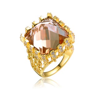 Collette Z Gold Overlay Champagne Cubic Zirconia Ring Size 6