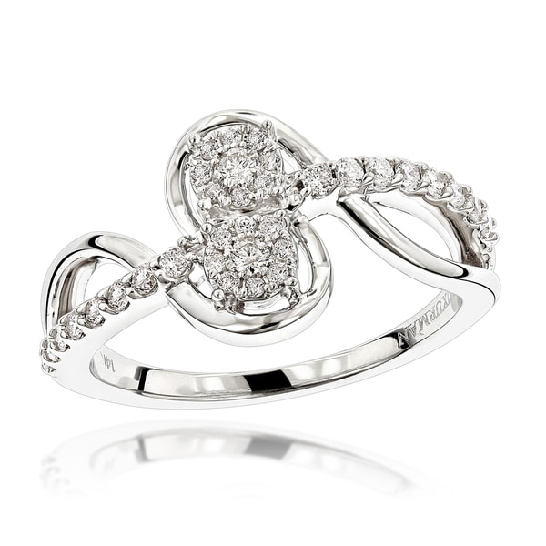 2a3aa50de8 Luxurman 14k White Gold 3/8ct TDW 2-cluster Diamond Love and Friendship Ring