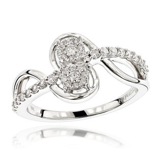 Luxurman 14k White Gold 3/8ct TDW 2-cluster Diamond Love and Friendship Ring (H-I, SI1-SI2)