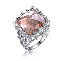 Collette Z Rhodium Over Champagne Cubic Zirconia Ring