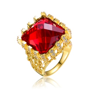 Collette Z Gold Overlay Red Cubic Zirconia Ring Size 6