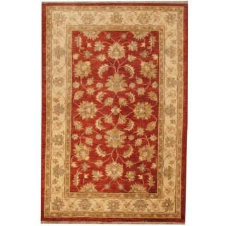 Herat Oriental Afghan Hand-knotted Vegetable Dye Oushak Wool Rug (4' x 6')