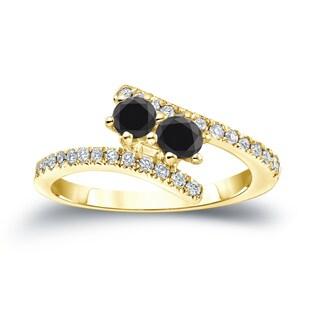 Auriya 14k Gold 3/4ct TDW 2-Stone Round Cut Black Diamond Engagement Ring (Black, SI2-SI3)