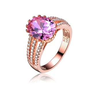 Collette Z Rose Gold Overlay Pink Cubic Zirconia Ring Size 6