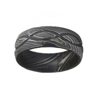 Men's Damascus Steel 8-millimeter Ring (More options available)