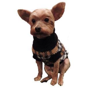 L&C Puppy-Ro Puppy and Dog Cotton Luxury Plaid Turtleneck Sweater