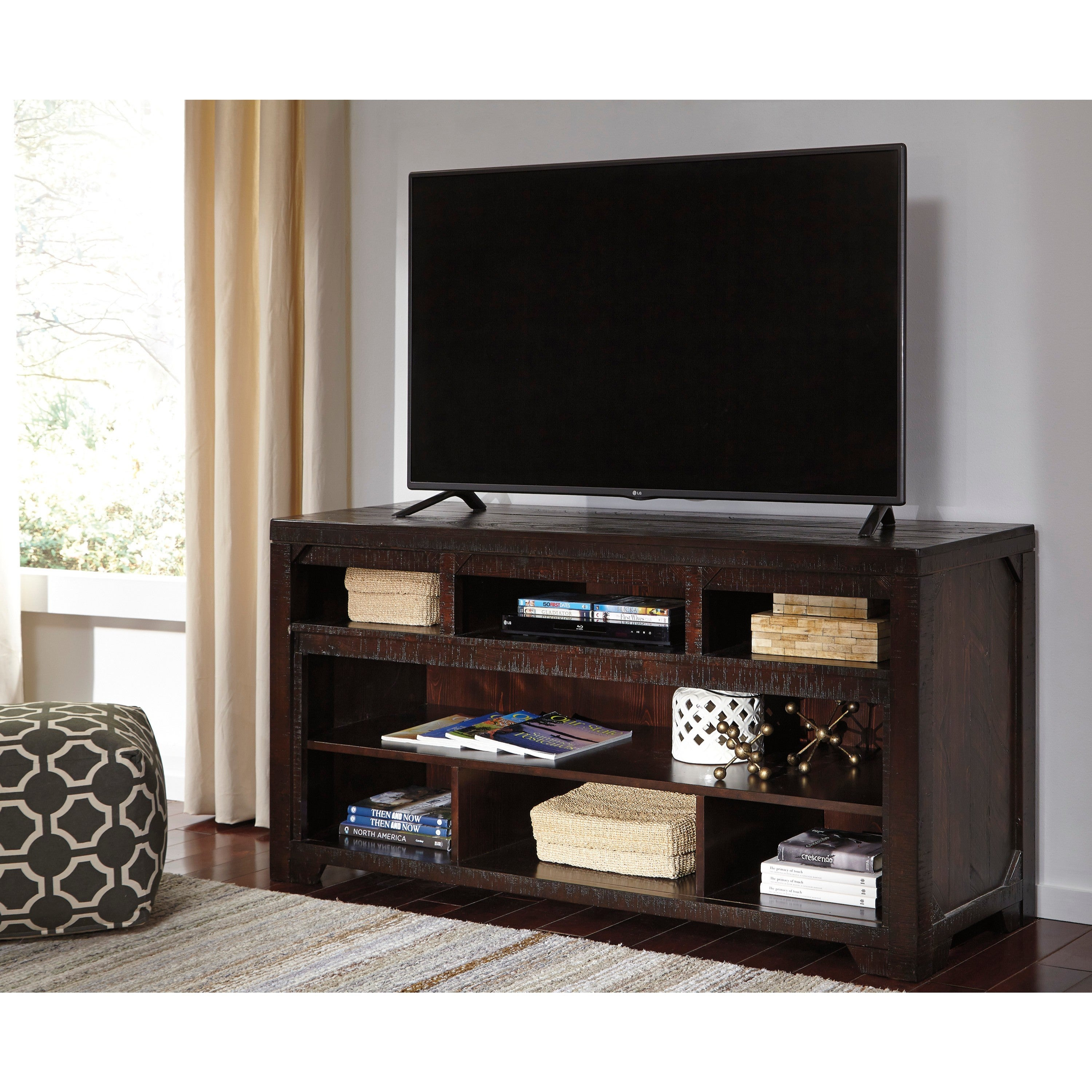 Ashley Rogness Dark Brown TV Stand (TV Stand with Electri...