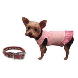 L C Puppy-Ro Pink Puppy Dog Bone Tutu Dress with Matching Collar