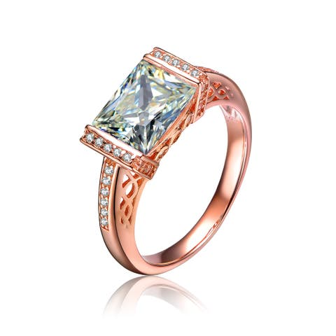 Collette Z Sterling Silver Ring in White Rhodium or Rose Gold Plating with Clear Emerald and Round Cubic Zirconia Accents