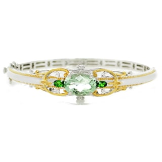 One-of-a-kind Michael Valitutti Palladium Silver Green Amethyst and Chrome Diopside Bangle Bracelet