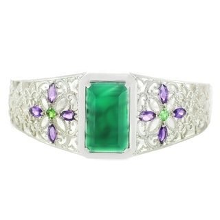 One-of-a-kind Dallas Prince Sterling Silver Green Agate, African Amethyst and Tsavorite Bangle Bracelet