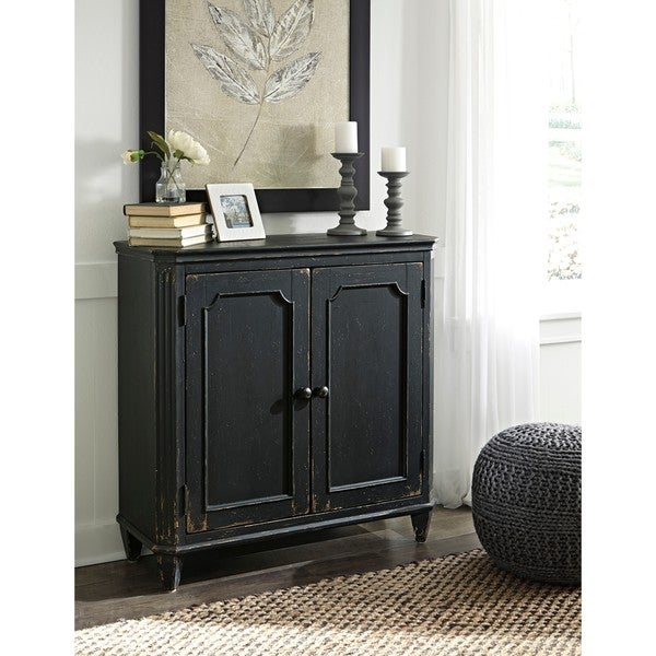 Shop Mirimyn Antique Black Accent Cabinet Free Shipping