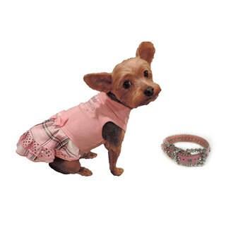 L&C Puppy-Ro Puppy Dog Pink Cotton Princess Dress with Matching Collar