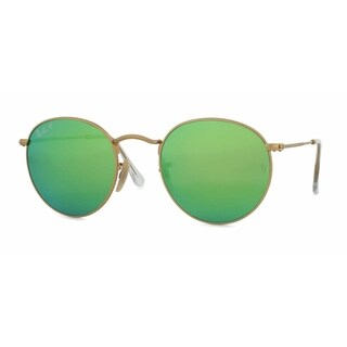 Ray Ban Mens RB3447 ROUND METAL 112/P9 Gold Metal Phantos Sunglasses - Green