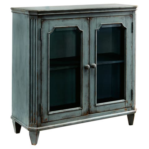 Signature Design by Ashley Mirimyn Antique Teal Accent Cabinet