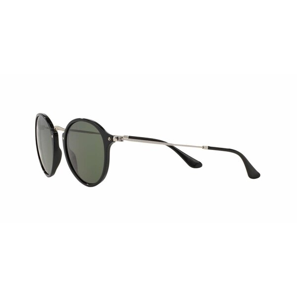 Ray-Ban Round Fleck RB2447 901/58 Unisex Black/Silver Frame Polarized Green Lens Sunglasses