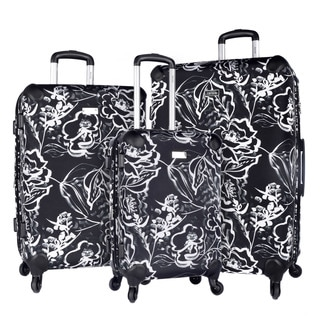 Kensie Black Rose 3-piece Expandable Hybrid Spinner Luggage Set