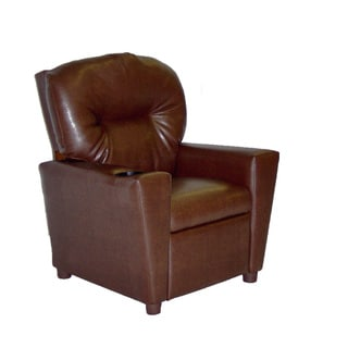 Dozydotes Cup Holder Pecan Leather Like Kid Recliner
