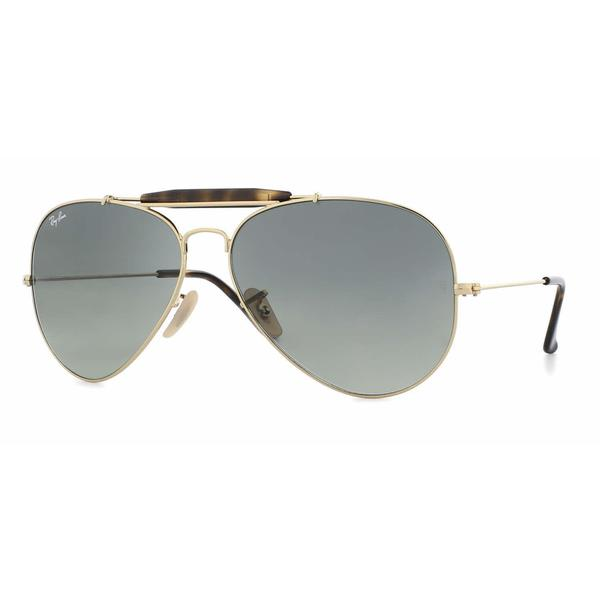 Ray Ban Mens RB3029 OUTDOORSMens II 181/71 Gold Metal Cateye Sunglasses - grey
