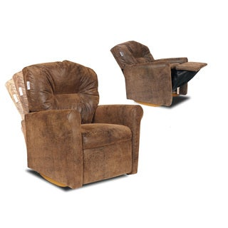 Dozydotes Kids Contemporary Brown Bomber Rocker Recliner
