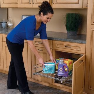 "Rev-A-Shelf 12"" Pullout 2 Tier Wire Basket Cookware Cabinet Organizer Chrome"