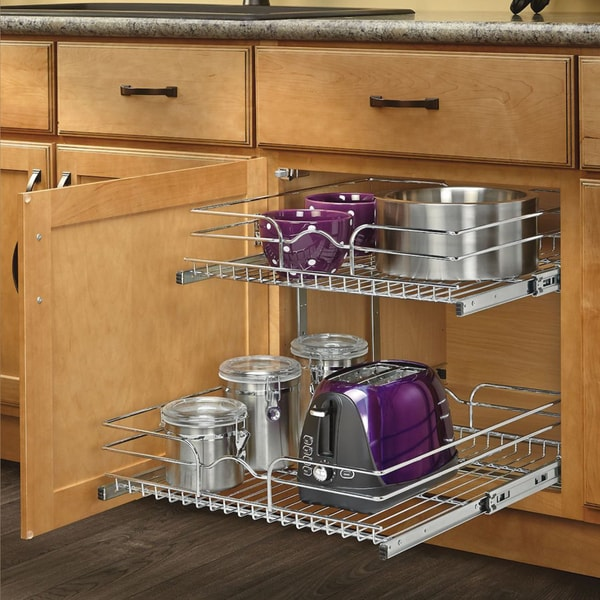Pull Out Wire Basket Base Cabinet Chrome Kitchen Storage: Shop Rev-A-Shelf 15-inch Pullout 2 Tier Wire Basket