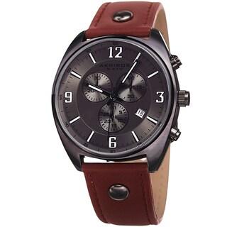 Akribos XXIV Men's Swiss Quartz Chronograph Multifunction Gun Strap Watch