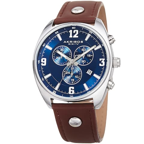 Akribos XXIV Men's Swiss Quartz Chronograph Multifunction Brown/Blue Strap Watch