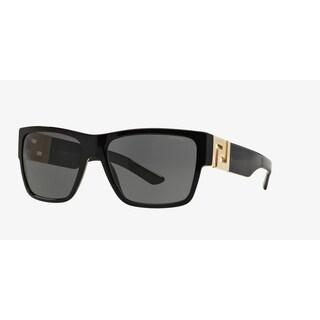 Versace Mens VE4296 GB1/81 Black Plastic Square Sunglasses - Grey