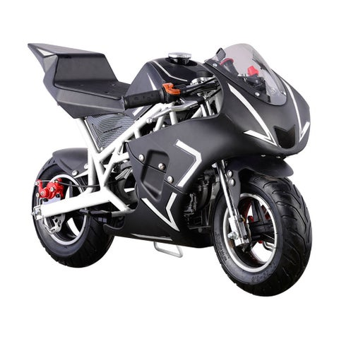 MotoTec Cali White 40cc Gas Pocket Bike