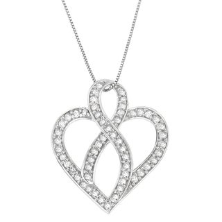 14k White Gold 1/2 CTTW Round Cut Diamond Heart and Ribbon Design Pendant Necklace (H-I, I1-I2)