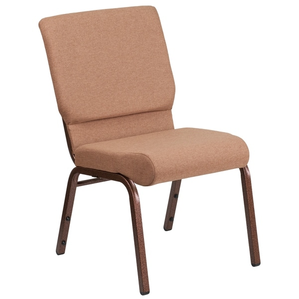 """18.5""""W Stacking Church Chair in Caramel Fabric - Copper Vein Frame"""