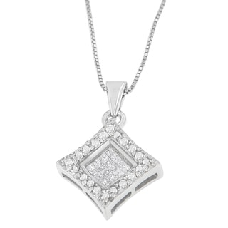 14K White Gold 1/5 CTTW Round and Princess Cut Diamond Pendant Necklace (H-I, SI1-SI2)