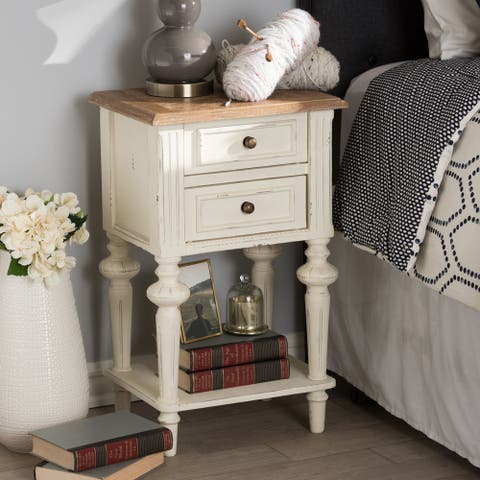 The Gray Barn Windy Knob Weathered Oak and White Wash Nightstand