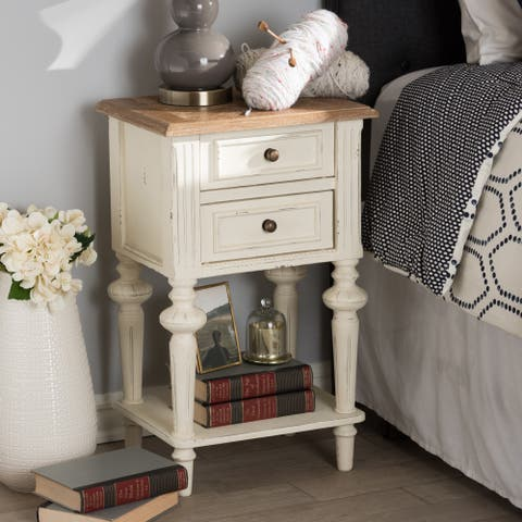 The Gray Barn Windy Knob Provincial Style Weathered Oak and White Wash Distressed Finish Wood 2-Tone Nightstand