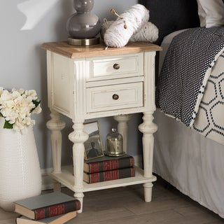 Baxton Studio Helios French Provincial Style Weathered Oak and White Wash Distressed Finish Wood Two-Tone Nightstand