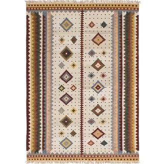 ecarpetgallery Ankara Kilim Ivory Wool Kilim (5'5 x 7'8)
