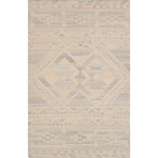 ecarpetgallery Tribeca Grey, Ivory Wool Kilim (8'0 x 10'0)