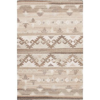 ecarpetgallery Tribeca Brown, Ivory Wool Kilim (8'0 x 10'0)
