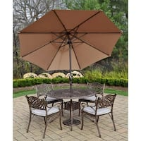 7 pc Dining Set with Round Table, 4 Cushioned Chairs, Umbrella, Stand