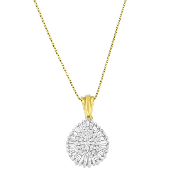 10k white gold 05 ct tdw round and baguette cut diamond teardrop tdw round and baguette cut diamond teardrop pendant necklace aloadofball Images